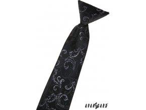 Černá dětská kravata se světlým vzorem_