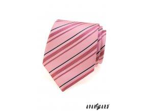 Růžová kravata s růžovými a černými proužky