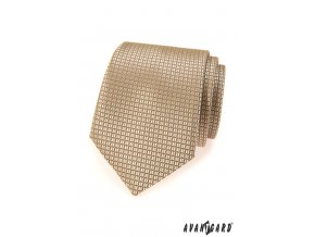 Béžová jemně lesklá kravata se čtvercovým vzorem