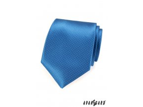 Modrá jemně lesklá kravata s velmi jemným vzorkem