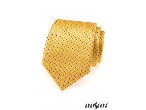 Žlutá kravata s černými malými tečkami