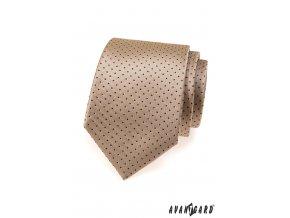 Béžová kravata s drobnými tmavými tečkami