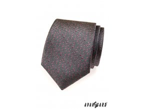 Šedá kravata s jemným červeným vzorem