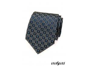 Velmi tmavě modrá kravata s květinovým vzorem