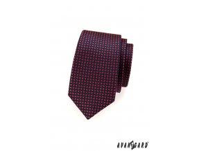 Velmi tmavě modrá slim kravata s červeným křížkovým vzorem
