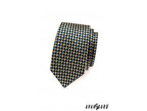 Modrá slim kravata s modro-žlutou šachovnicí