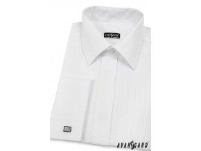 Pánská bílá košile s jemnými lesklými pruhy SLIM FIT, krytá léga, na manžetové knoflíčky 514-2111