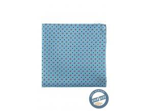 Světle modrý hedvábný kapesníček s červenobílým vzorem