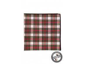 Červeno-zelený kapesníček s bílým podkladem