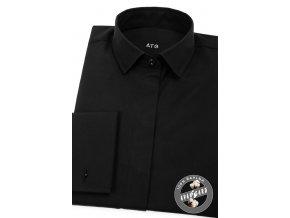 Černá dámská košile na manžetové knoflíčky_ 722-23_