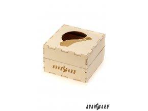 Dřevěná dárková krabička s otvorem a vzorem pruhované kravaty