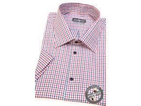 Bílá pánská košile s károvaným vzorem, kr. rukáv,927-0112_