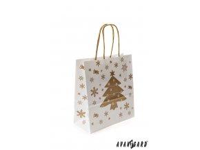 Bílá vánoční papírová taška se zlatým stromečkem (180 x 80 x 200 mm)