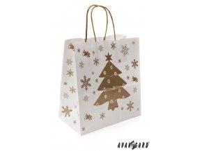 Bílá vánoční dárková taška se zlatým stromečkem (250 x 110 x 240 mm)