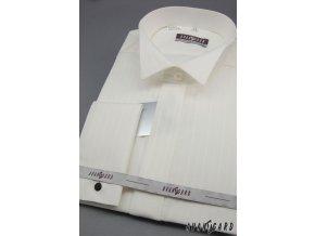 Pánská košile svatební FRAKOVKA MK - s francouzskou manžetou 665-90017 3022-90017 smetanová (Barva 3022-90017 smetanová, Velikost 44/194, Materiál 80% bavlna a 20% polyester)