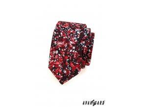 Bordó slim kravata s mozaikou