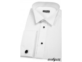 Pánská košile FRAKOVKA SLIM MK se sadou knoflíčků 112-1 V1-bílá (Barva V1-bílá, Velikost 45/194, Materiál 60% bavlna a 40% polyester)
