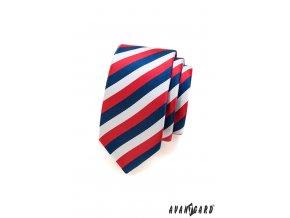 Barevná slim kravata - trikolóra