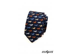 Velmi tmavě modrá slim kravata s barevnými koníky