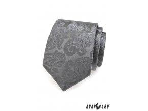 Šedá kravata se vzorem stejné barvy