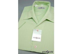 Pánská košile s rozhalenkou, kr.rukáv 456-8 V8-zelená (Barva V8-zelená, Velikost 45/182, Materiál 55% bavlna a 45% polyester)