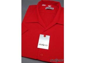Pánská košile s rozhalenkou, kr.rukáv 456-12 V12-červená (Barva V12-červená, Velikost 38/182, Materiál 55% bavlna a 45% polyester)
