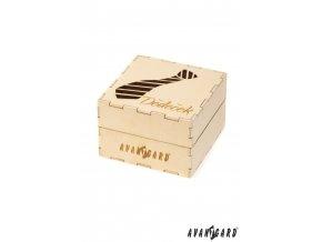 Dřevěná dárková krabička se vzorem kravaty - Dědeček