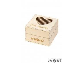 Dřevěná dárková krabička se srdíčkem - Pro ženicha