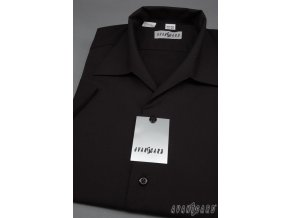 Pánská košile s rozhalenkou, kr.rukáv 456-23 V23-černá (Barva V23-černá, Velikost 41/182, Materiál 55% bavlna a 45% polyester)