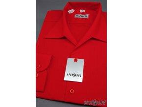 Pánská košile s rozhalenkou, dl.rukáv 457-12 V12-červená (Barva V12-červená, Velikost 42/194, Materiál 55% bavlna a 45% polyester)
