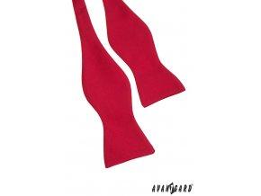 Červený vázací motýlek bez vzoru + kapesníček