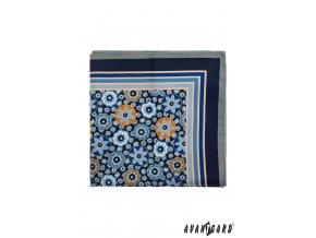 Modrý hedvábný kapesníček s tmavým okrajem a květy