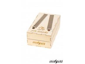 Dřevěná dárková krabička na šle - Pro ženicha