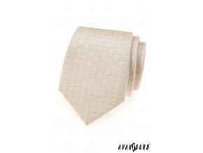 Smetanová kravata s kulatým vzorem