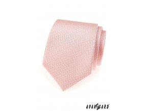 Světle růžová kravata s růžovým klikatým vzorem