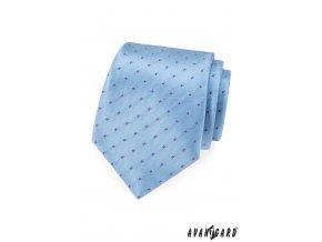 Světle modrá kravata s růžovo-modrým vzorem