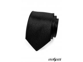 Černá jednobarevná lesklá kravata