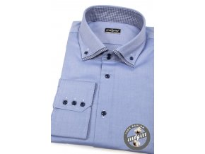 Modrá pánská SLIM FIT košile, dl. rukáv, 130-1516