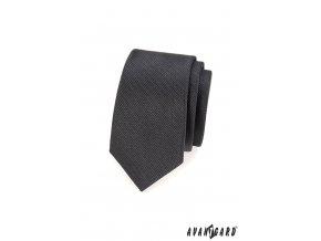Grafitová slim vroubkovaná kravata