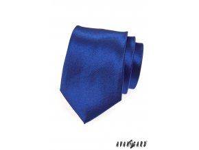 Zářivě tmavě modrá jednobarevná lesklá kravata