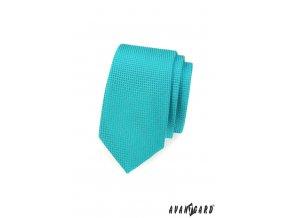 Zářivě tyrkysová slim kravata s mřížkovanou strukturou