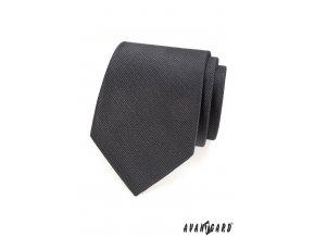 Grafitová vroubkovaná kravata