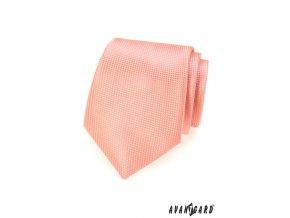 Světle lososová kravata s mřížkou