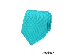 Zářivě tyrkysová kravata s mřížkou