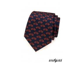 Tmavě modrá kravata s červenými koly