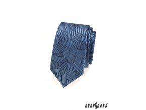 Modrá slim kravata s krátkými proužky