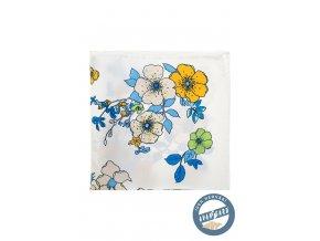 Bílý hedvábný kapesníček s květy