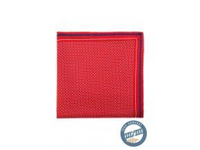 Červený hedvábný kapesníček s kostkovaným vzorem