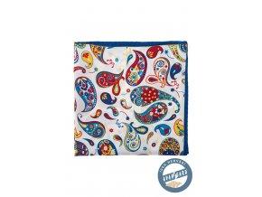 Bílý hedvábný kapesníček s barevným vzorem