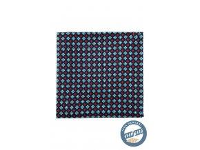 Tmavě modrý hedvábný kapesníček s barevným vzorem